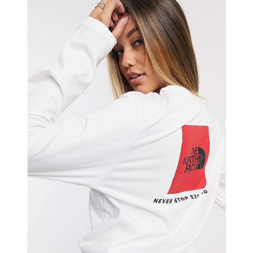 ザ ノースフェイス The North Face レディース 長袖Tシャツ トップス【Red Box long sleeve t-shirt in white】Tnf white