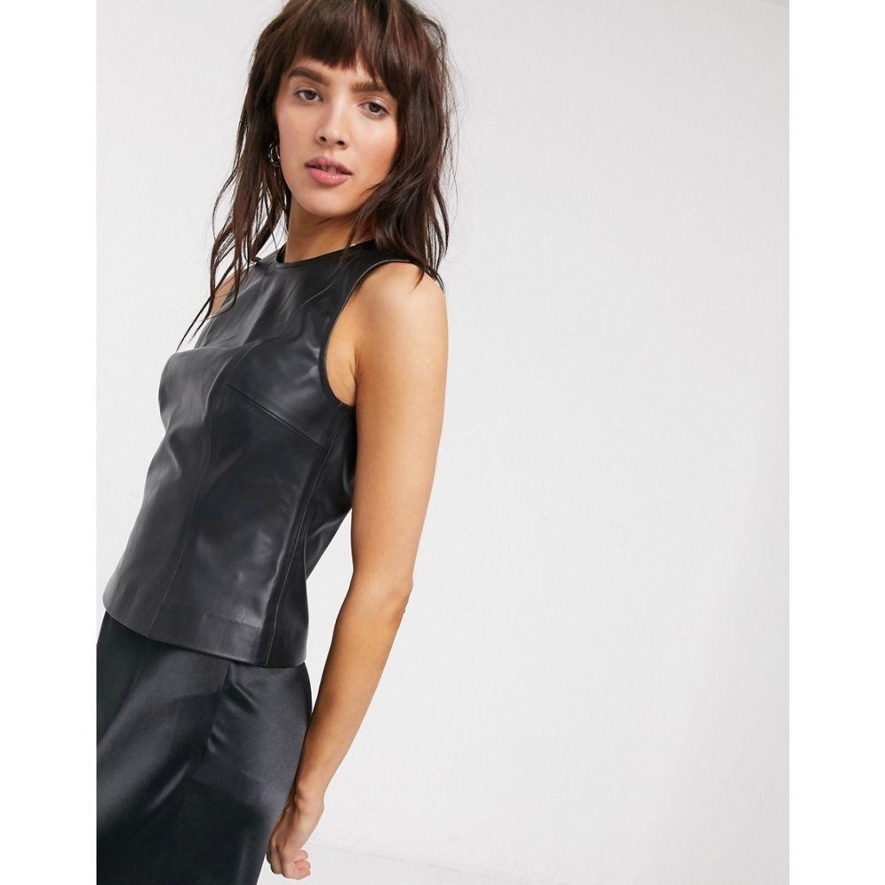 ウィークデイ Weekday レディース タンクトップ トップス【Alina faux leather fitted tank top in black】Black