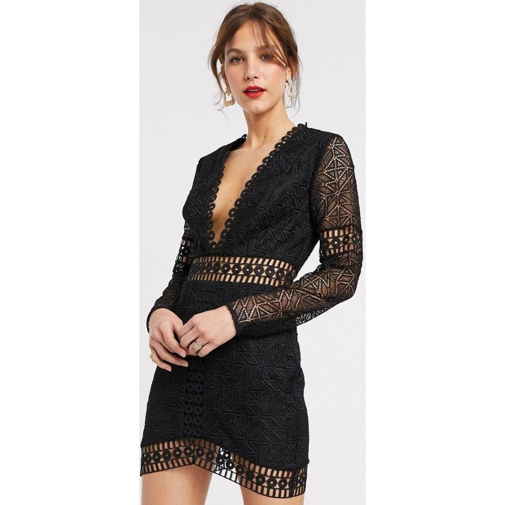 エイソス ASOS DESIGN レディース ワンピース ミニ丈 ワンピース・ドレス【mini dress with long sleeve in lace】Black