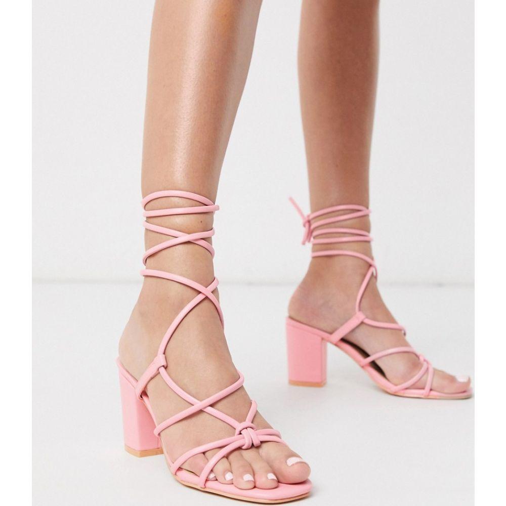 グラマラス Glamorous レディース サンダル・ミュール シューズ・靴【block heel sandals with ankle tie in pink】Pink pu
