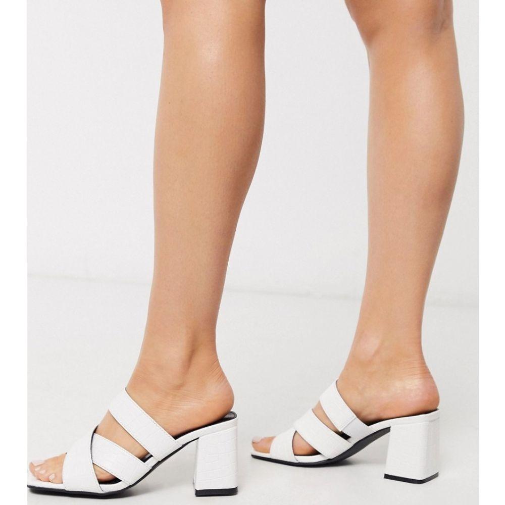 グラマラス Glamorous レディース サンダル・ミュール シューズ・靴【block heeled mule sandal in white mock croc】White mock croc