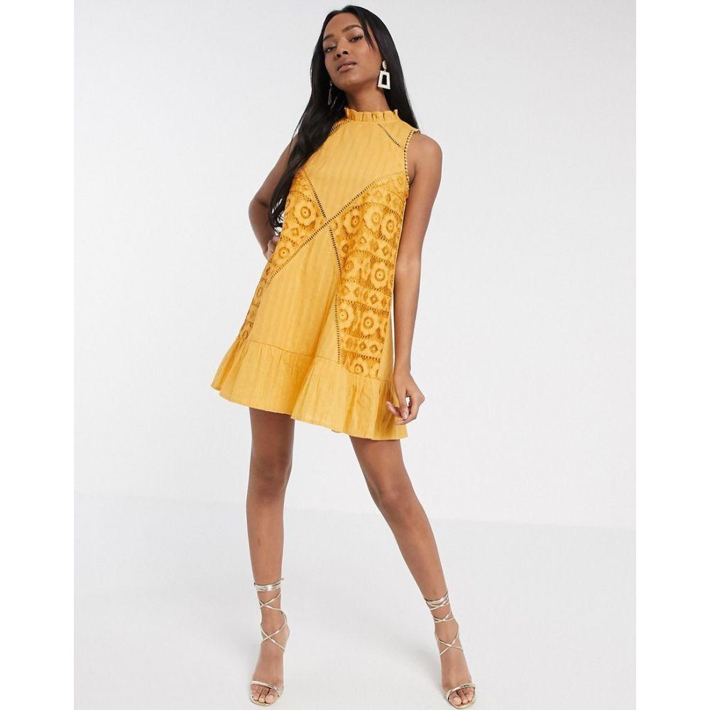 エイソス ASOS DESIGN レディース ワンピース ノースリーブ ミニ丈 ワンピース・ドレス【sleeveless lace insert mini dress with pephem in mustard】Mustard