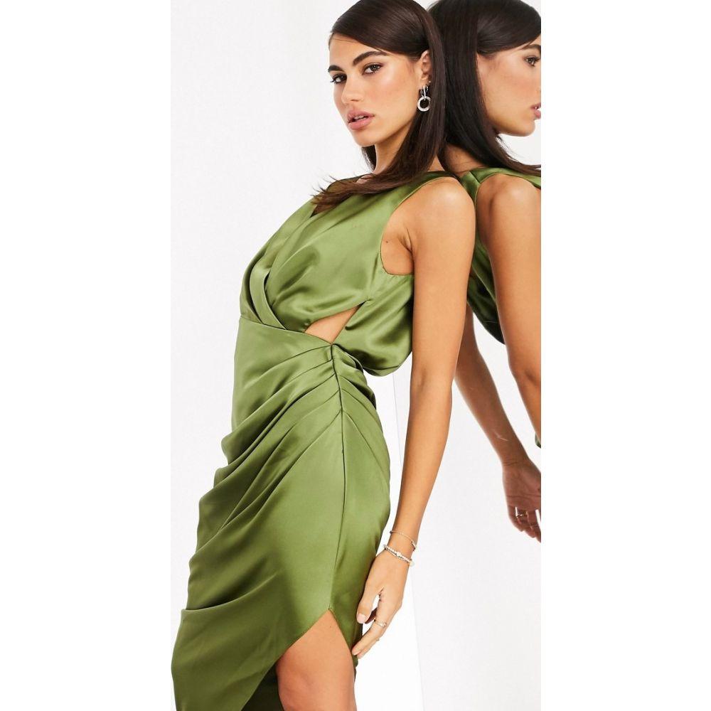 エイソス ASOS EDITION レディース ワンピース ミドル丈 ワンピース・ドレス【plunge satin midi dress with drape】Green