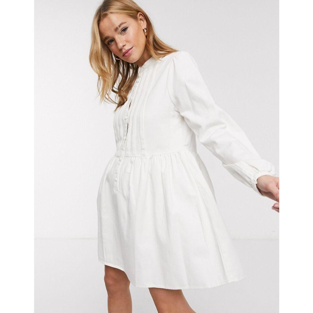 エイソス ASOS DESIGN レディース ワンピース デニム シャツワンピース ワンピース・ドレス【denim pintuck smock shirt dress】White