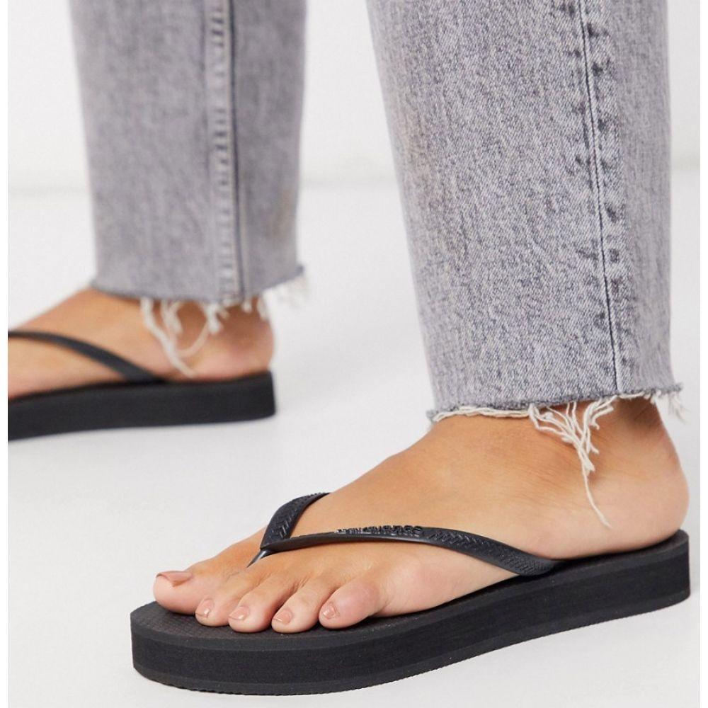 ハワイアナス Havaianas レディース ビーチサンダル シューズ・靴【flatform flip flop in black】Black