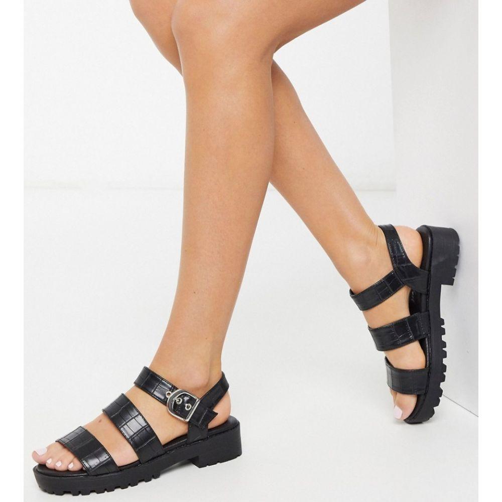 ニュールック New Look レディース サンダル・ミュール フラット チャンキーヒール シューズ・靴【leather look chunky flat sandals in black croc】Black