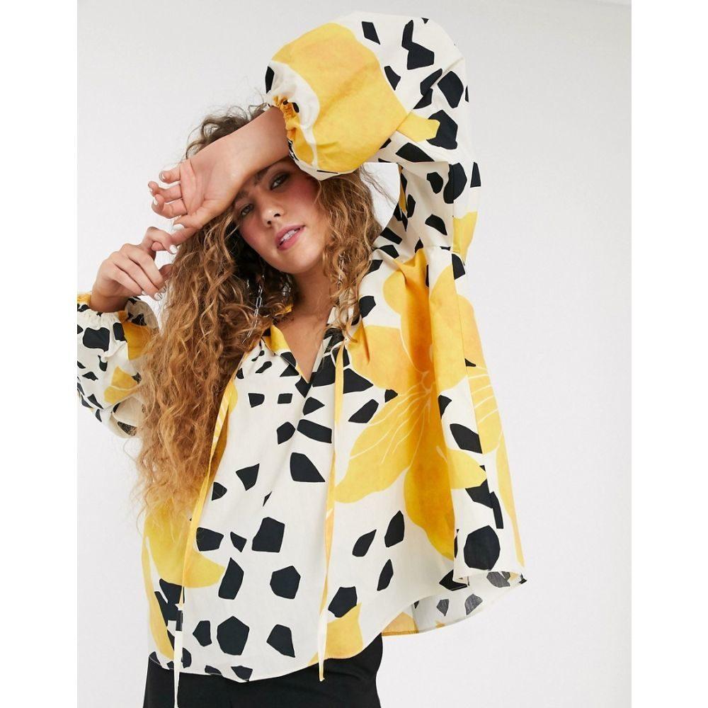 トップショップ Topshop レディース ブラウス・シャツ トップス【Boutique abstract print blouse in yellow】Multi