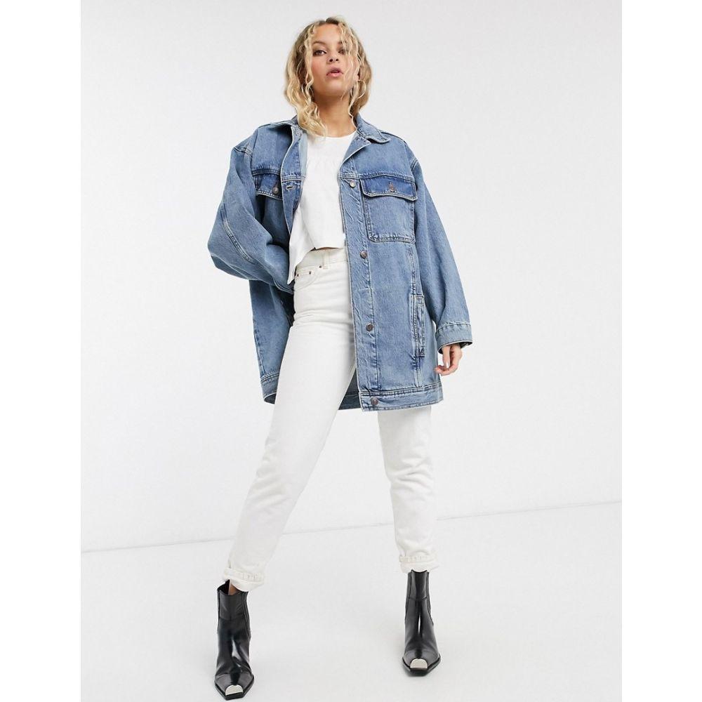 トップショップ Topshop レディース ジャケット Gジャン アウター【super oversized denim jacket in mid wash blue】Blue