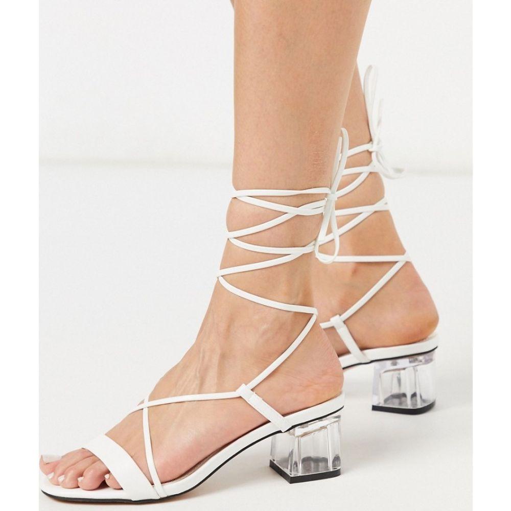 トップショップ Topshop レディース ヒール シューズ・靴【strappy block heels in white】White
