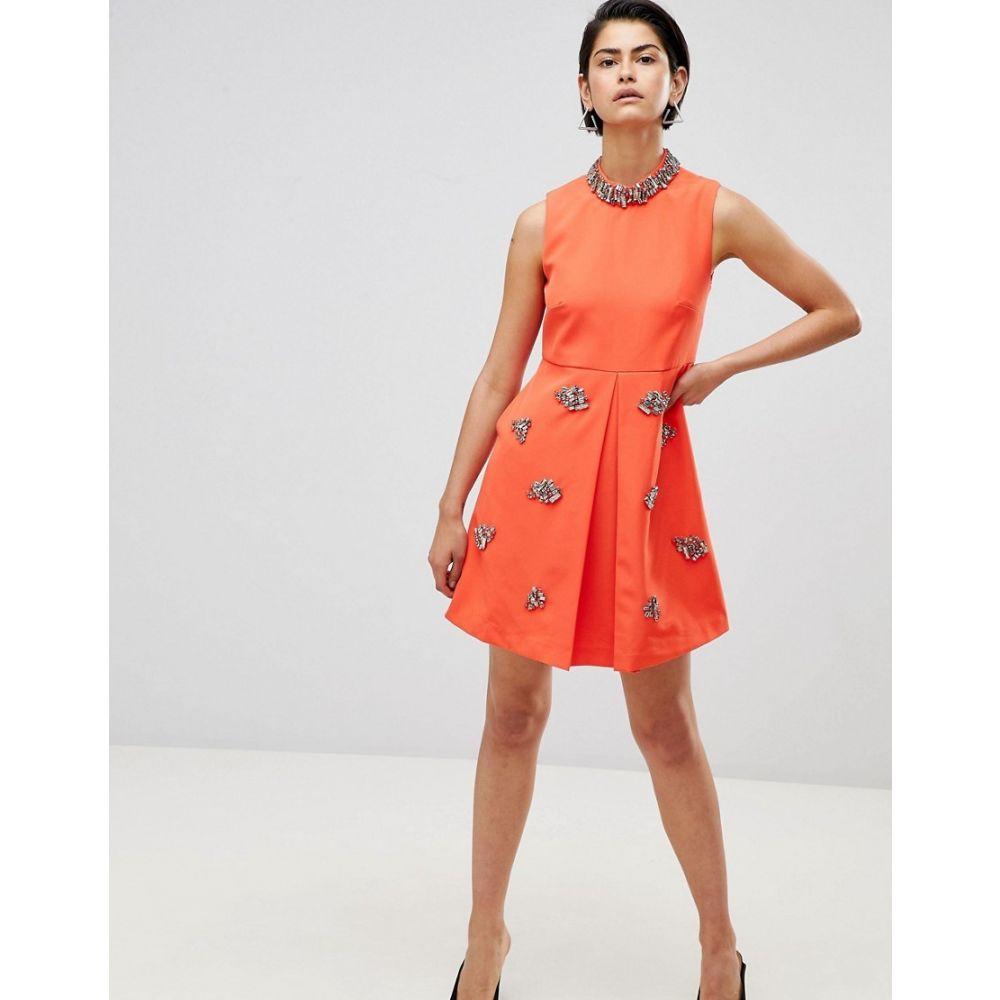 フォーエバーユニーク Forever Unique レディース パーティードレス ワンピース・ドレス【Embellished Swing Dress】Orange
