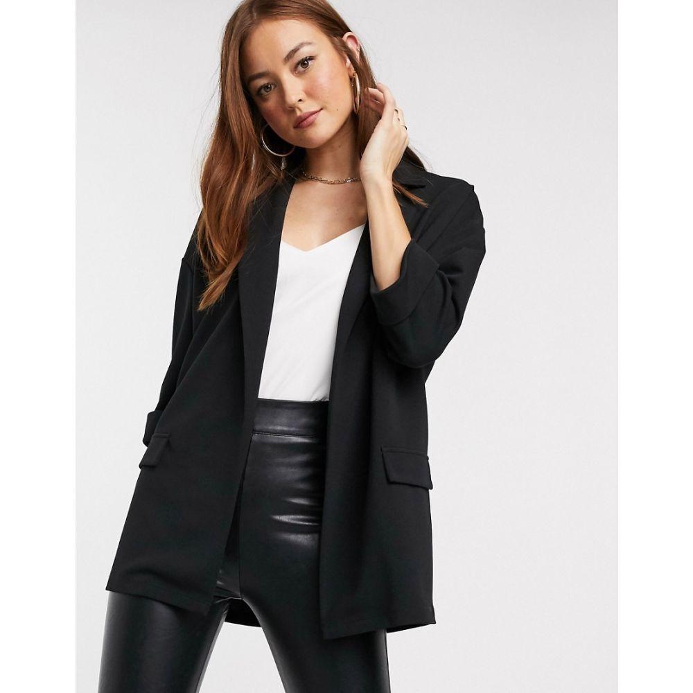 エイソス ASOS DESIGN レディース スーツ・ジャケット アウター【easy relaxed blazer in textured jersey】Black