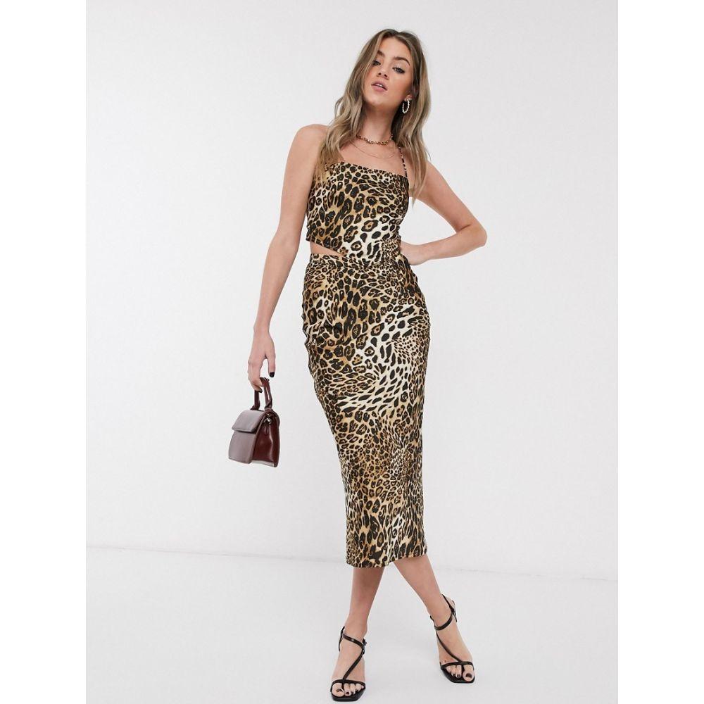 ジャガーストーン Jagger and Stone レディース ひざ丈スカート スカート【Jagger & Stone midi skirt in leopard print satin co-ord】Leopard