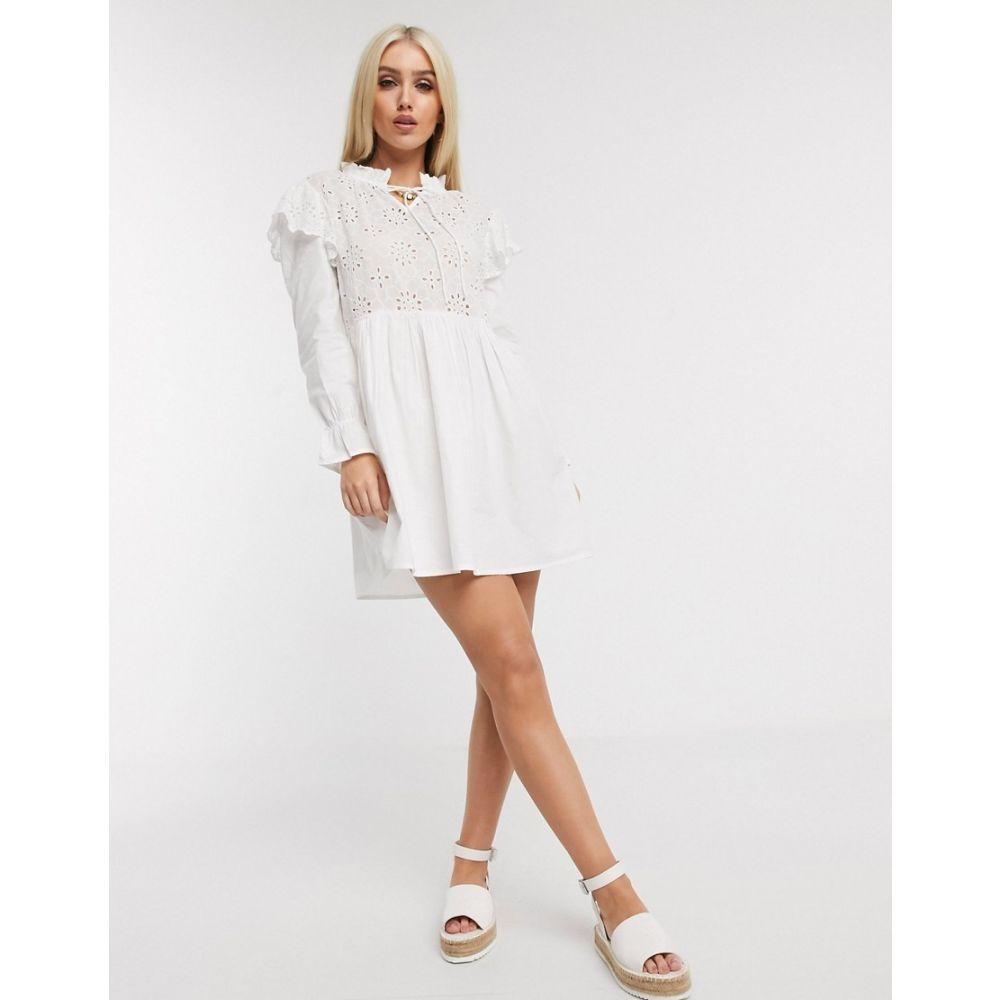 ブーフー Boohoo レディース ワンピース ワンピース・ドレス【crochet smock dress with tie neck in white】White