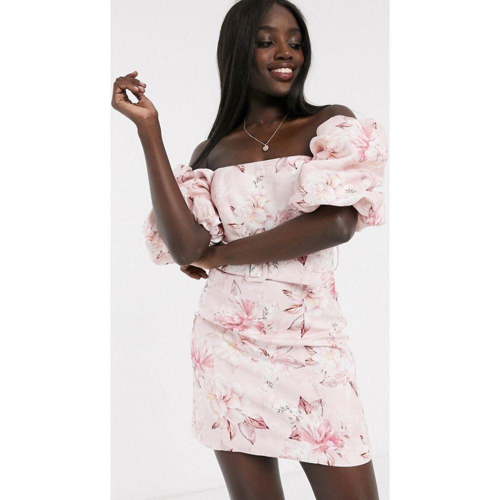 フォーエバーニュー Forever New レディース ワンピース ミニ丈 ワンピース・ドレス【puff sleeve belted mini dress in pink floral】Pink floral