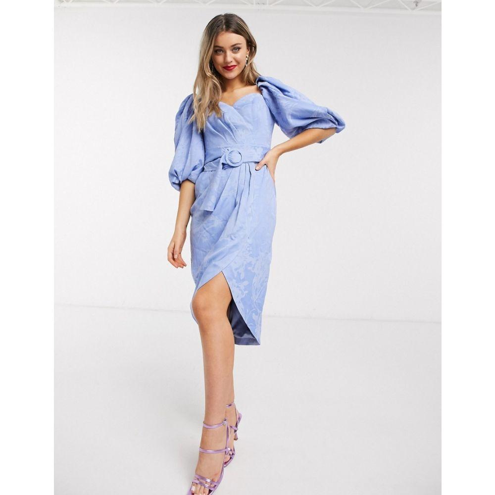 フォーエバーニュー Forever New レディース ワンピース ワンピース・ドレス【puff sleeve belted dress in lavender blue】Lavender blue
