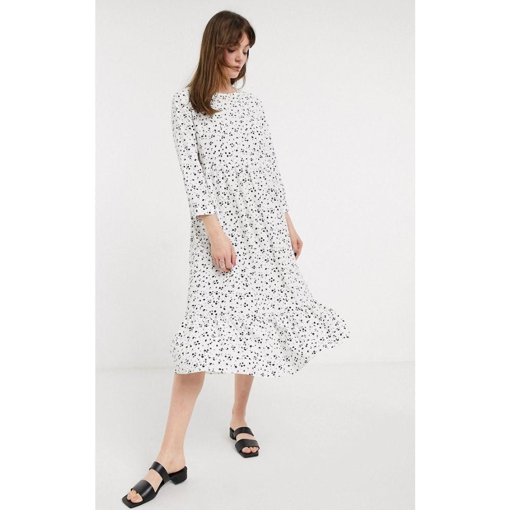 グラマラス Glamorous レディース ワンピース ワンピース・ドレス【midaxi smock dress in spot print】White black spot
