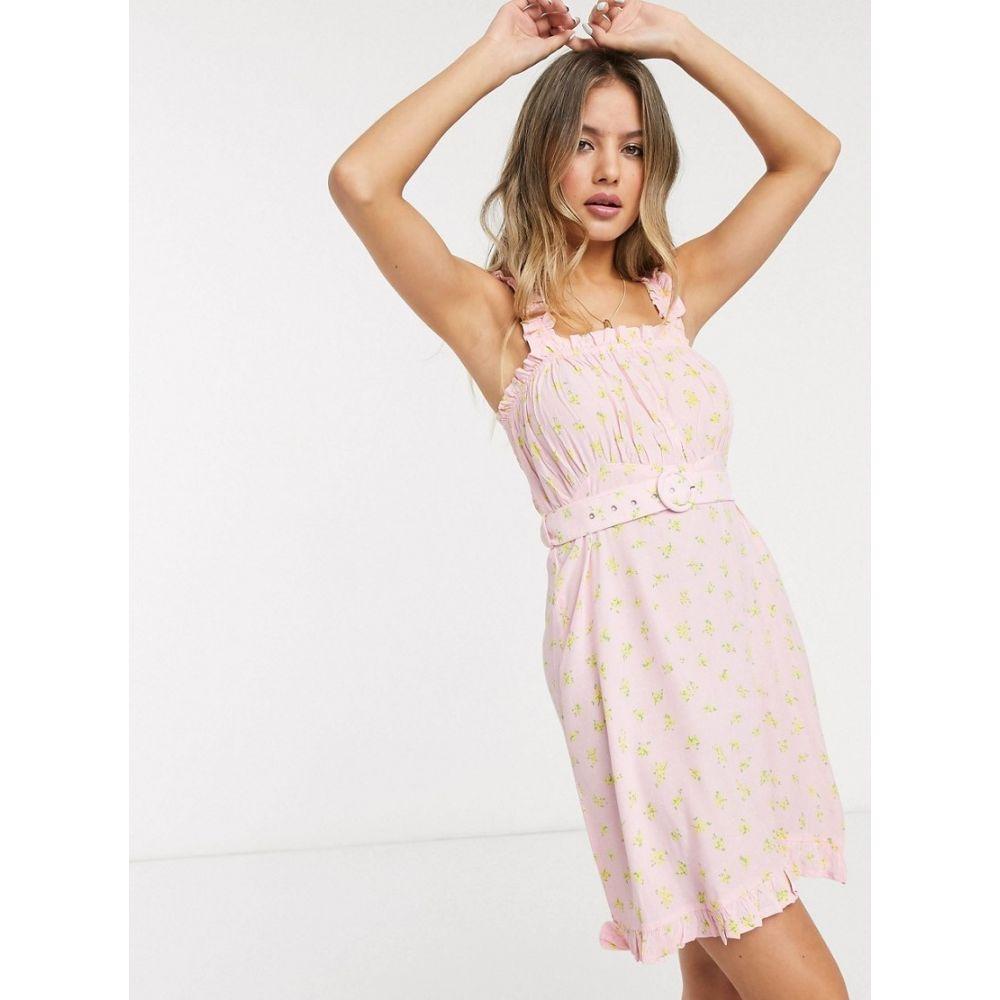 フェイスフルザブランド Faithfull the Brand レディース ワンピース ミニ丈 ワンピース・ドレス【Faithfull The Brand mid summer belted floral mini dress in pink】Pink