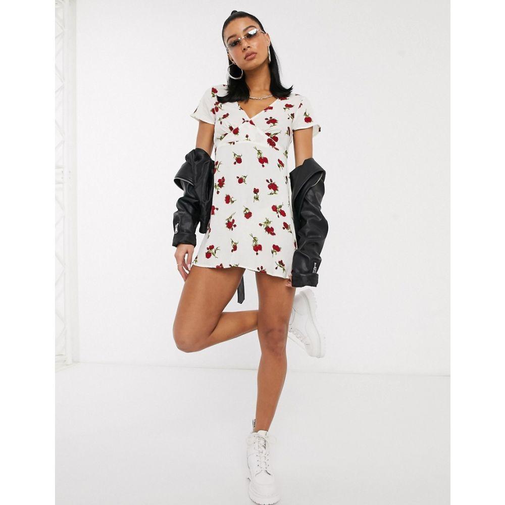 モーテル Motel レディース ワンピース ミニ丈 ワンピース・ドレス【elara mini dress in rose print】White rose bud