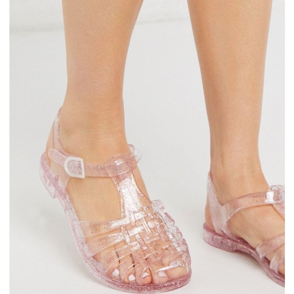 ロンドン レーベル London Rebel レディース スリッポン・フラット シューズ・靴【flat jelly shoes】Pink glitter