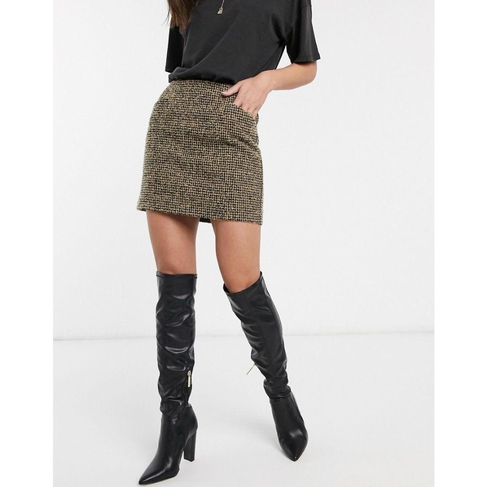 マンゴ Mango レディース ミニスカート スカート【tweed mini skirt】Brown