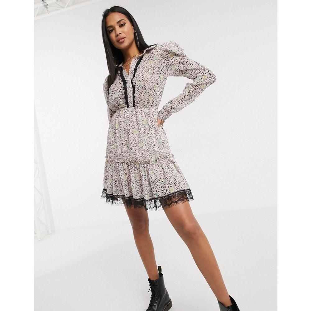 プリティ ダーリン Pretty Darling レディース ワンピース シャツワンピース ワンピース・ドレス【floral ruched shirt dress with lace trim】Floral