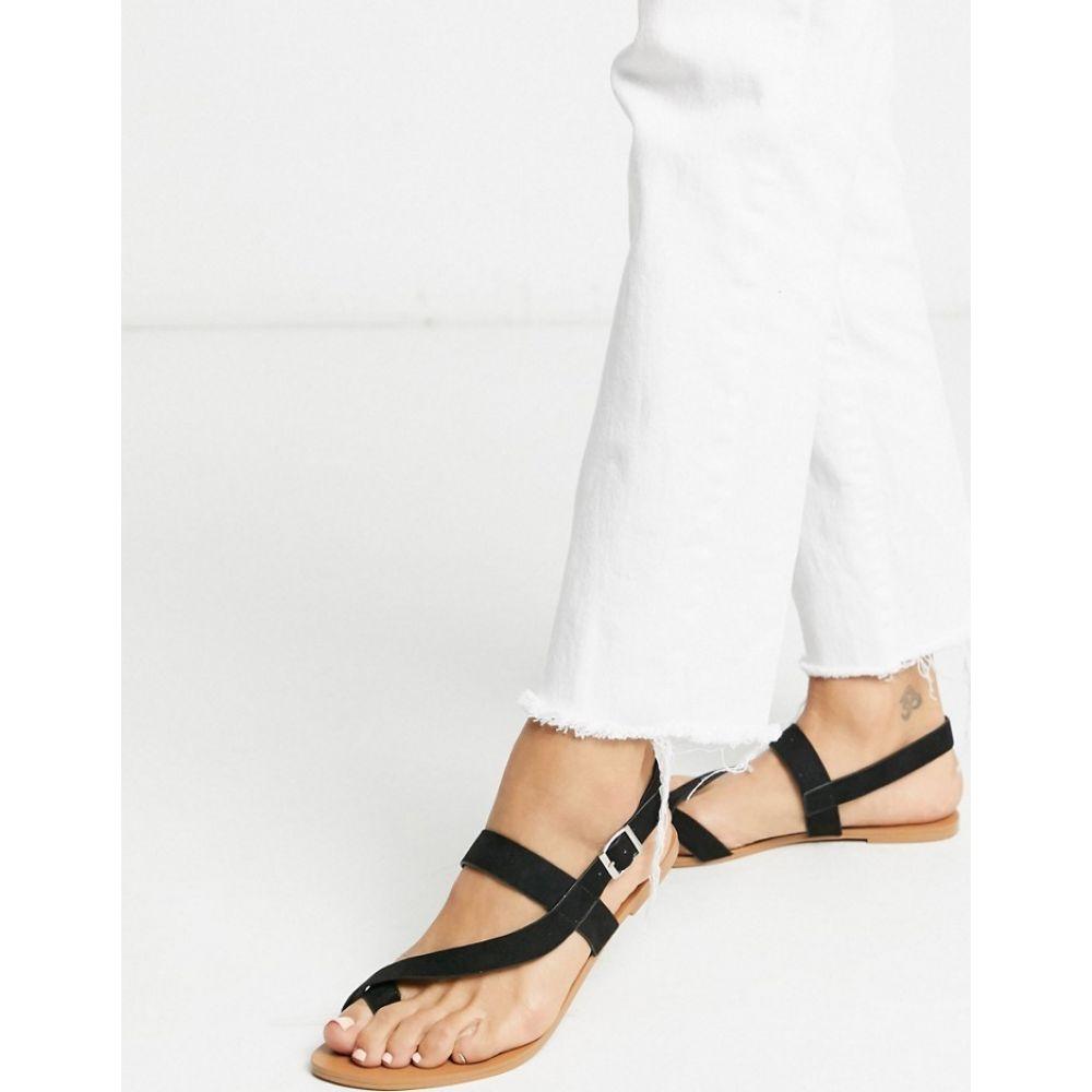 ミス セルフリッジ Miss Selfridge レディース サンダル・ミュール フラット シューズ・靴【flat sandals with toe loop in black】Black