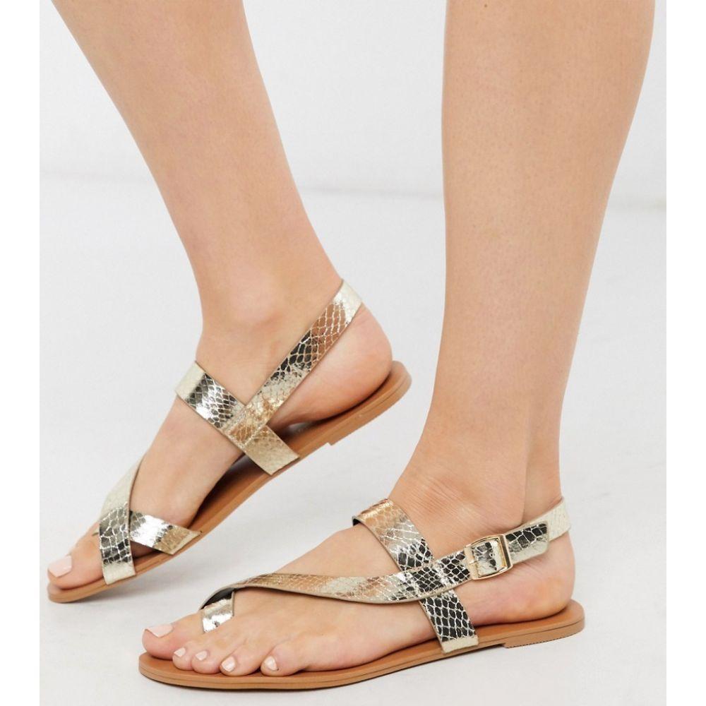 ミス セルフリッジ Miss Selfridge レディース サンダル・ミュール フラット シューズ・靴【flat sandals with toe loop in gold】Gold
