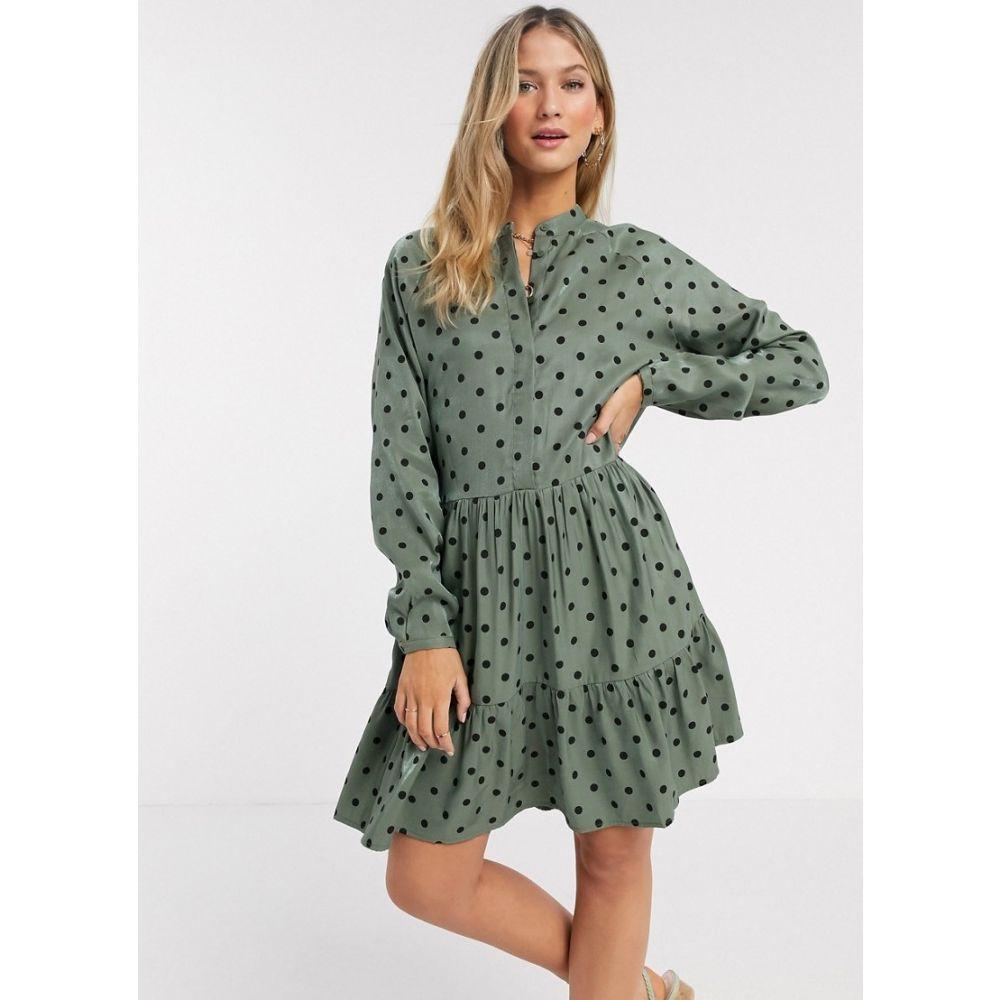 エムバイエム mbyM レディース ワンピース シャツワンピース ワンピース・ドレス【shirt dress in polka dot green】Green