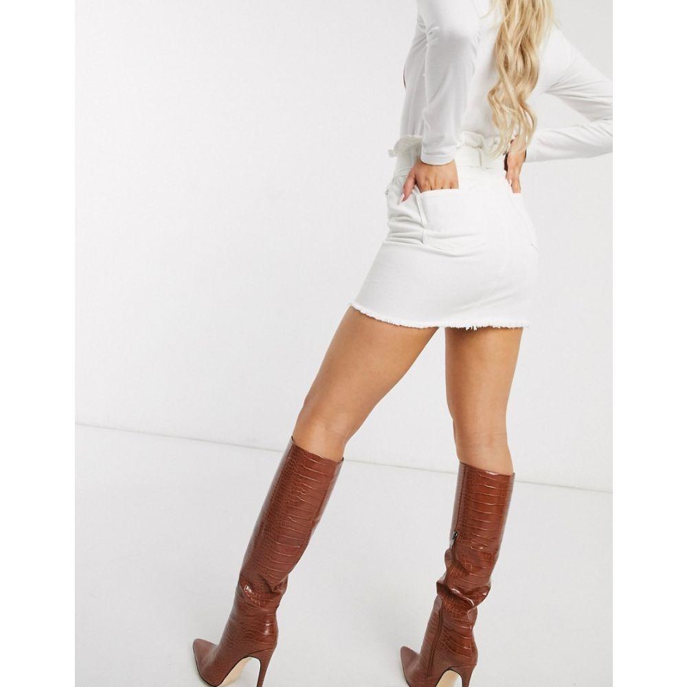 ミスガイデッド Missguided レディース スカート デニム paperbag tie waist denim skirt in white WhiteGLqSMUzVp