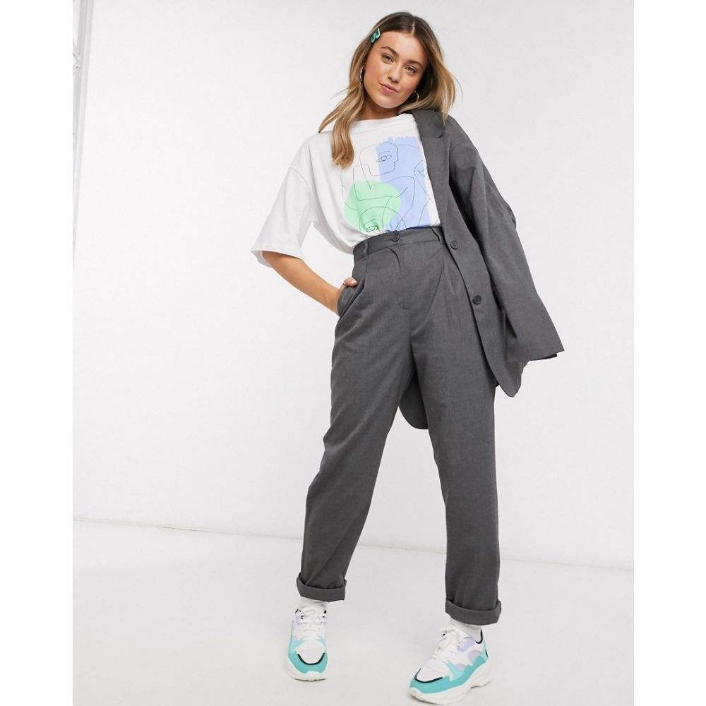 モンキ Monki レディース ボトムス・パンツ 【Lainey tailored peg leg trouser in grey】Grey