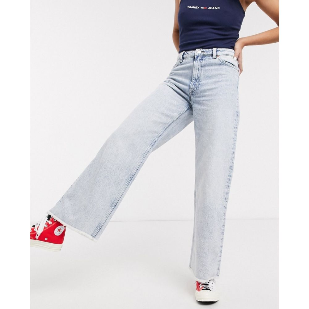 モンキ Monki レディース ジーンズ・デニム ワイドパンツ ボトムス・パンツ【Yoko wide leg cropped raw hem jeans in light blue】Light blue