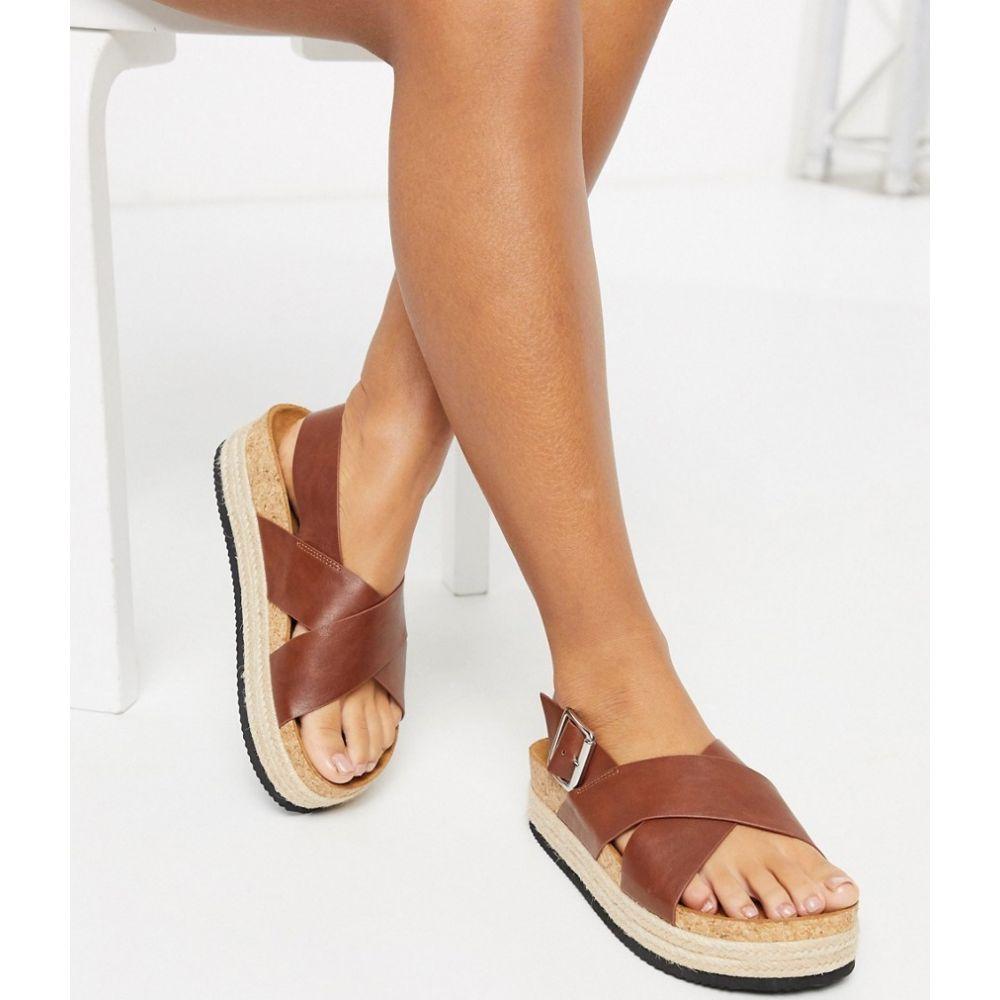 モンキ Monki レディース サンダル・ミュール フラット シューズ・靴【Jannike double strap flat sandals in brown】Brown