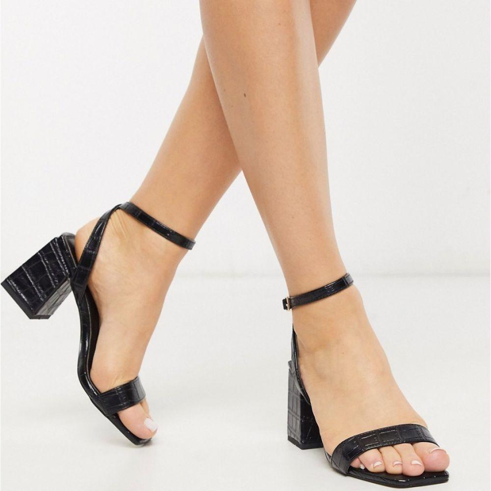 ピンキー Pimkie レディース サンダル・ミュール シューズ・靴【moc croc mid sandals in black】Black