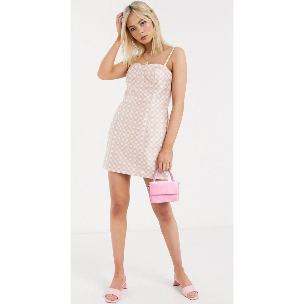 ステファニア ヴィアダニ Stefania Viadani レディース ワンピース ミニ丈 ワンピース・ドレス【Stefania Vaidani linda check mini dress in pink】Pink