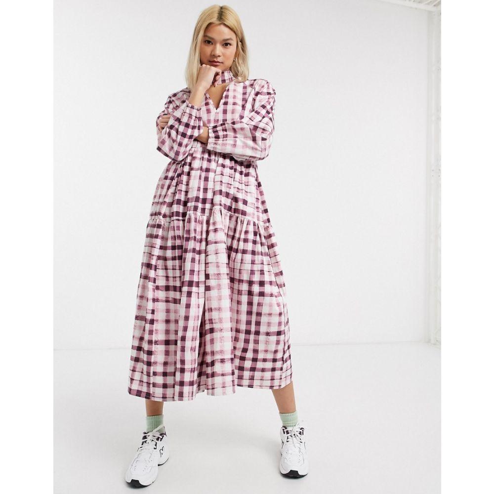 ダムソンマダー Damson Madder レディース ワンピース ティアードドレス ワンピース・ドレス【tiered organic cotton maxi dress in check with bow neck tie】Pink check