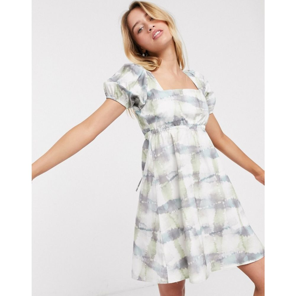 ダムソンマダー Damson Madder レディース ワンピース ワンピース・ドレス【organic cotton tea dress with puff sleeves in tie dye】Dusty tie dye