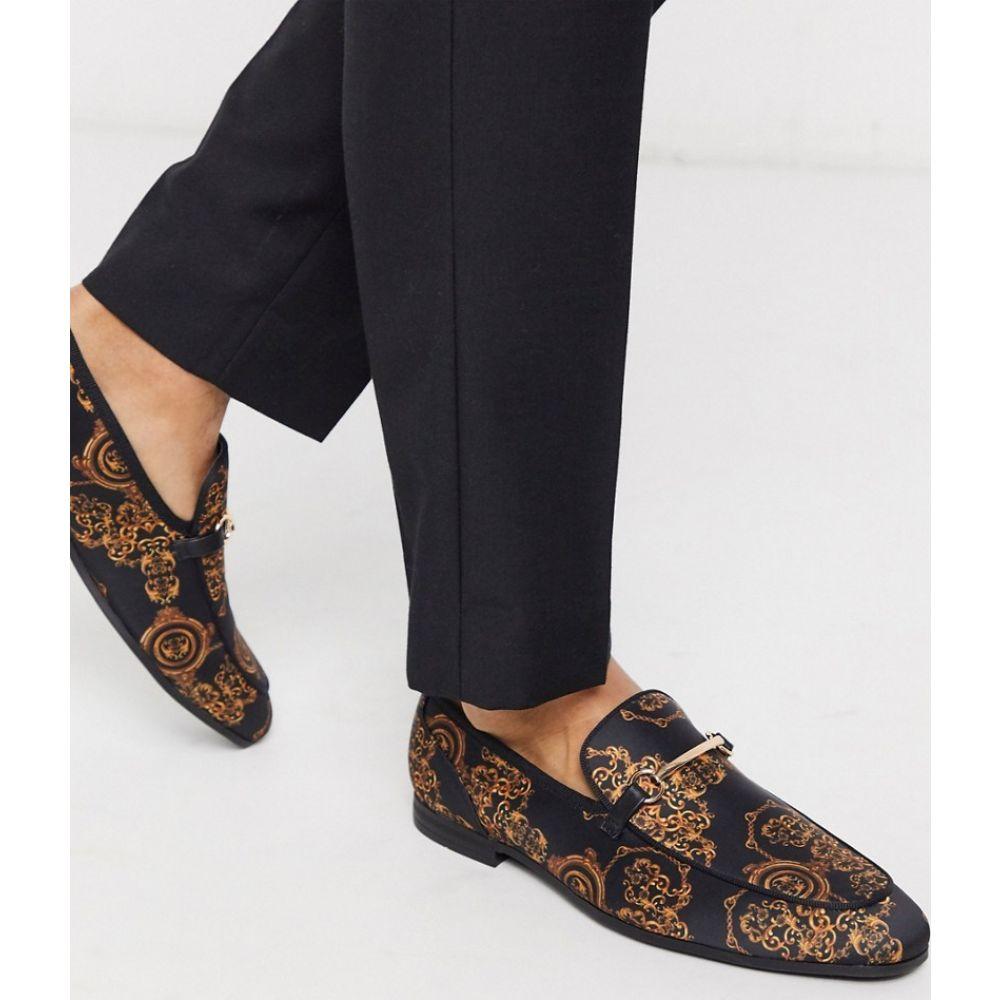 エイソス ASOS DESIGN メンズ ローファー シューズ・靴【loafers in black with baroque print】Multi