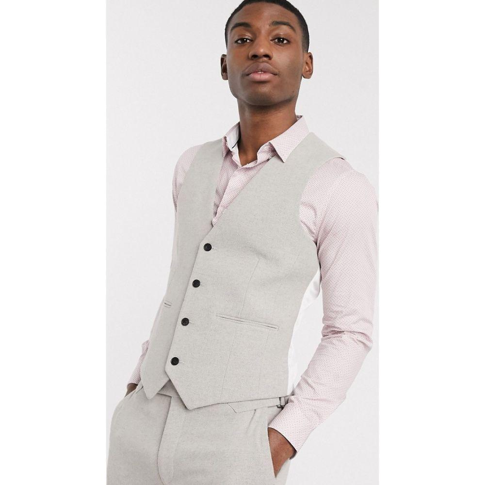 エイソス ASOS DESIGN メンズ ベスト・ジレ トップス【wedding skinny suit waistcoat in putty wool blend twill】Putty