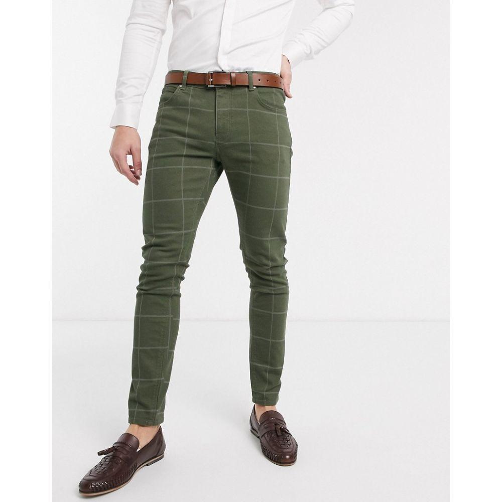 エイソス ASOS DESIGN メンズ ジーンズ・デニム ボトムス・パンツ【skinny jeans in green check】Green