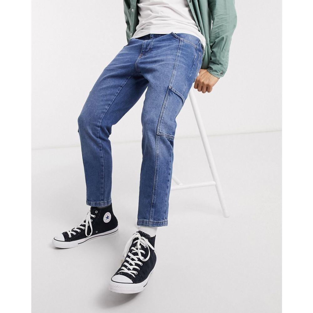 エイソス ASOS DESIGN メンズ ジーンズ・デニム ボトムス・パンツ【stretch classic jeans in mid wash blue with cargo details and seam details】Mid wash blue