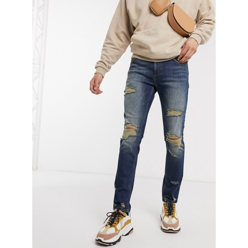 エイソス ASOS DESIGN メンズ ジーンズ・デニム ボトムス・パンツ【skinny jeans in tinted dark wash with heavy rips】Dark wash vintage