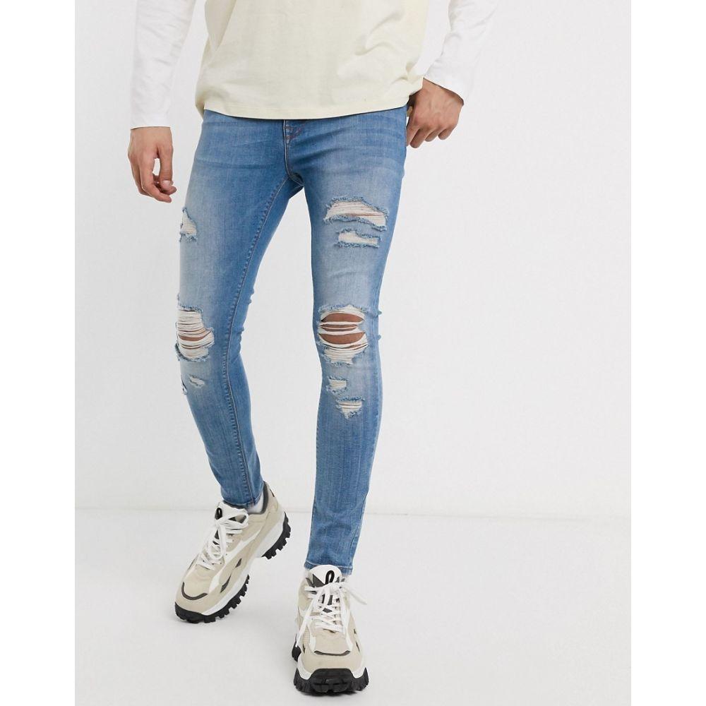 エイソス ASOS DESIGN メンズ ジーンズ・デニム ボトムス・パンツ【spray on jeans with power stretch in light wash blue with heavy rips】Light wash blue