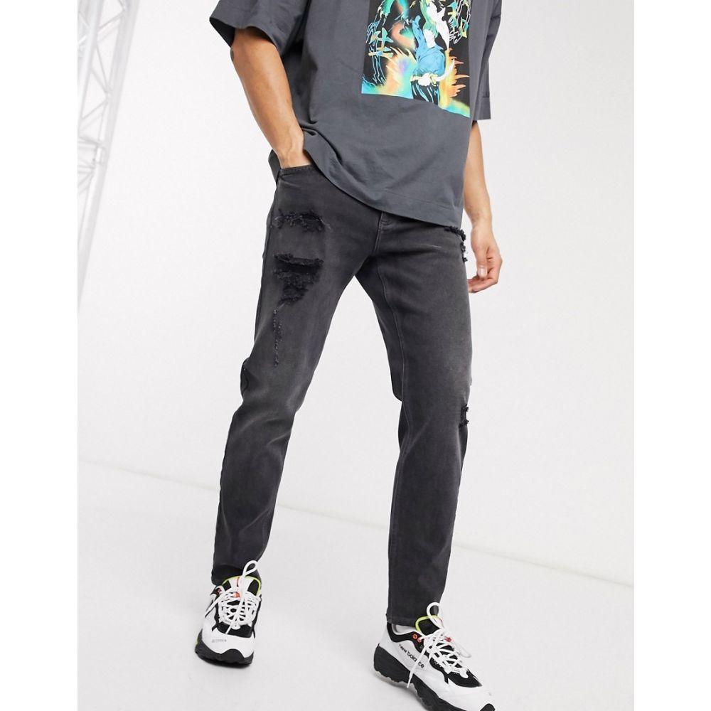 エイソス ASOS DESIGN メンズ ジーンズ・デニム ボトムス・パンツ【rigid tapered jeans in washed black with heavy rips】Washed black