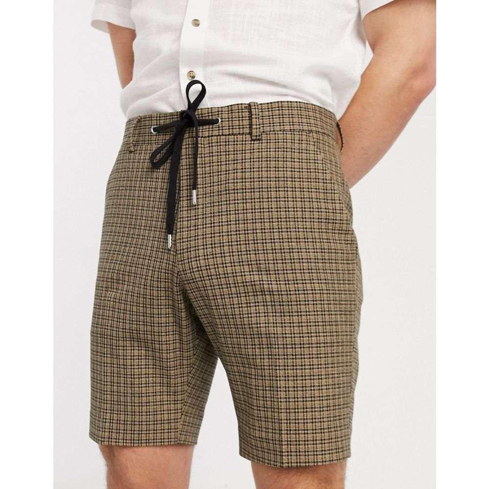 エイソス ASOS DESIGN メンズ ショートパンツ ボトムス・パンツ【skinny smart shorts in tan check with drawcord waist】Stone