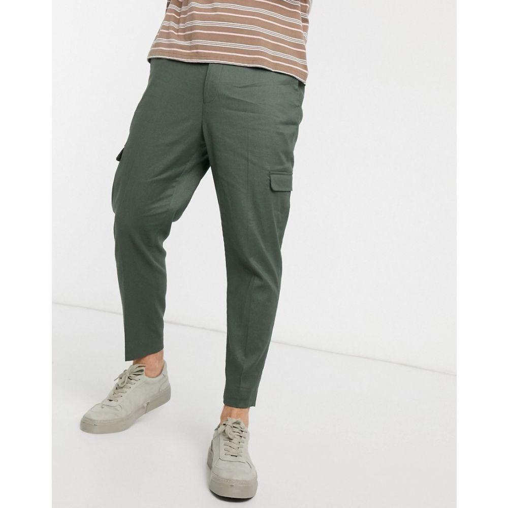 エイソス ASOS DESIGN メンズ カーゴパンツ ボトムス・パンツ【tapered smart trousers in green linen and cargo pockets】Green
