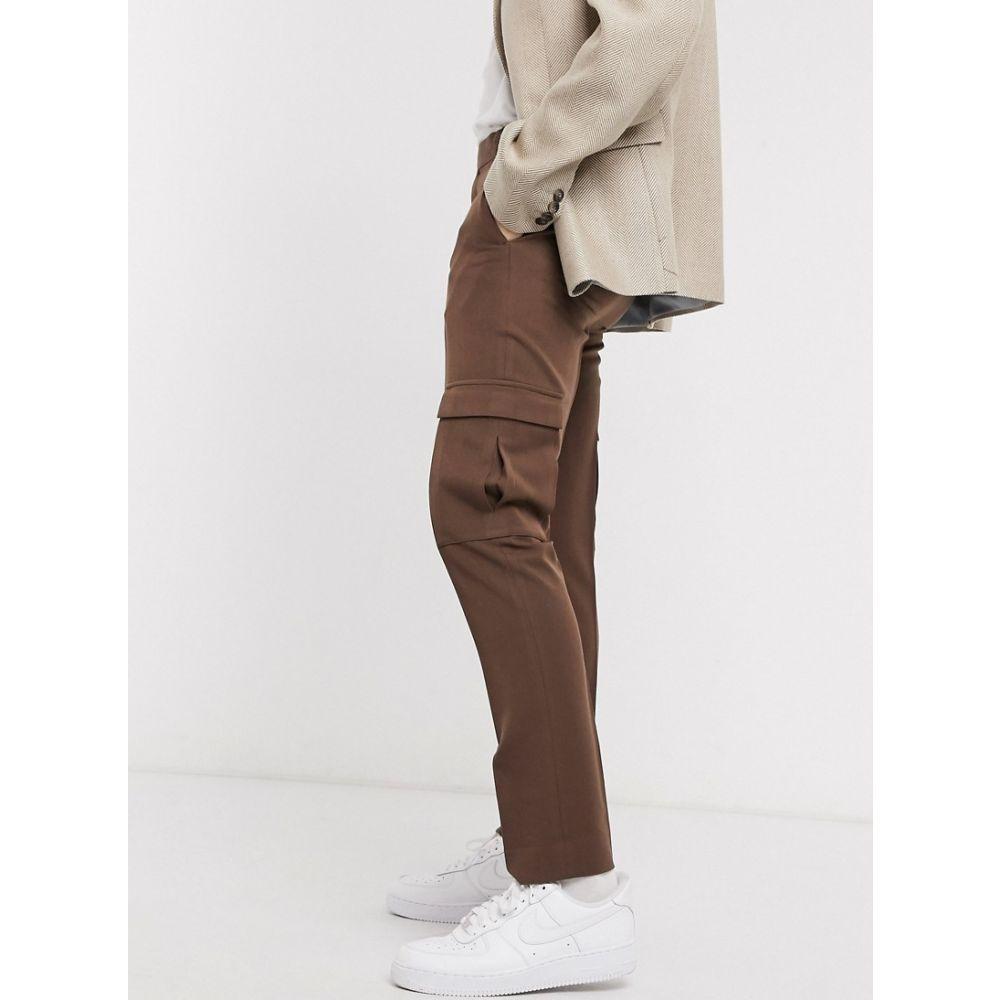 エイソス ASOS DESIGN メンズ カーゴパンツ ボトムス・パンツ【skinny smart heavyweight trouser in brown with cargo pockets】Brown