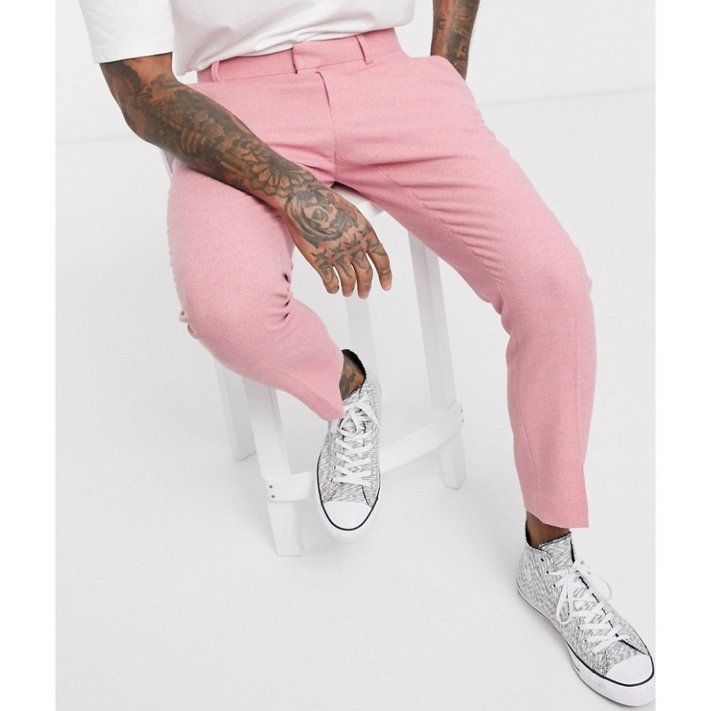 エイソス ASOS DESIGN メンズ スキニー・スリム ボトムス・パンツ【skinny smart trousers in pink twill wool mix and side adjusters】Pink