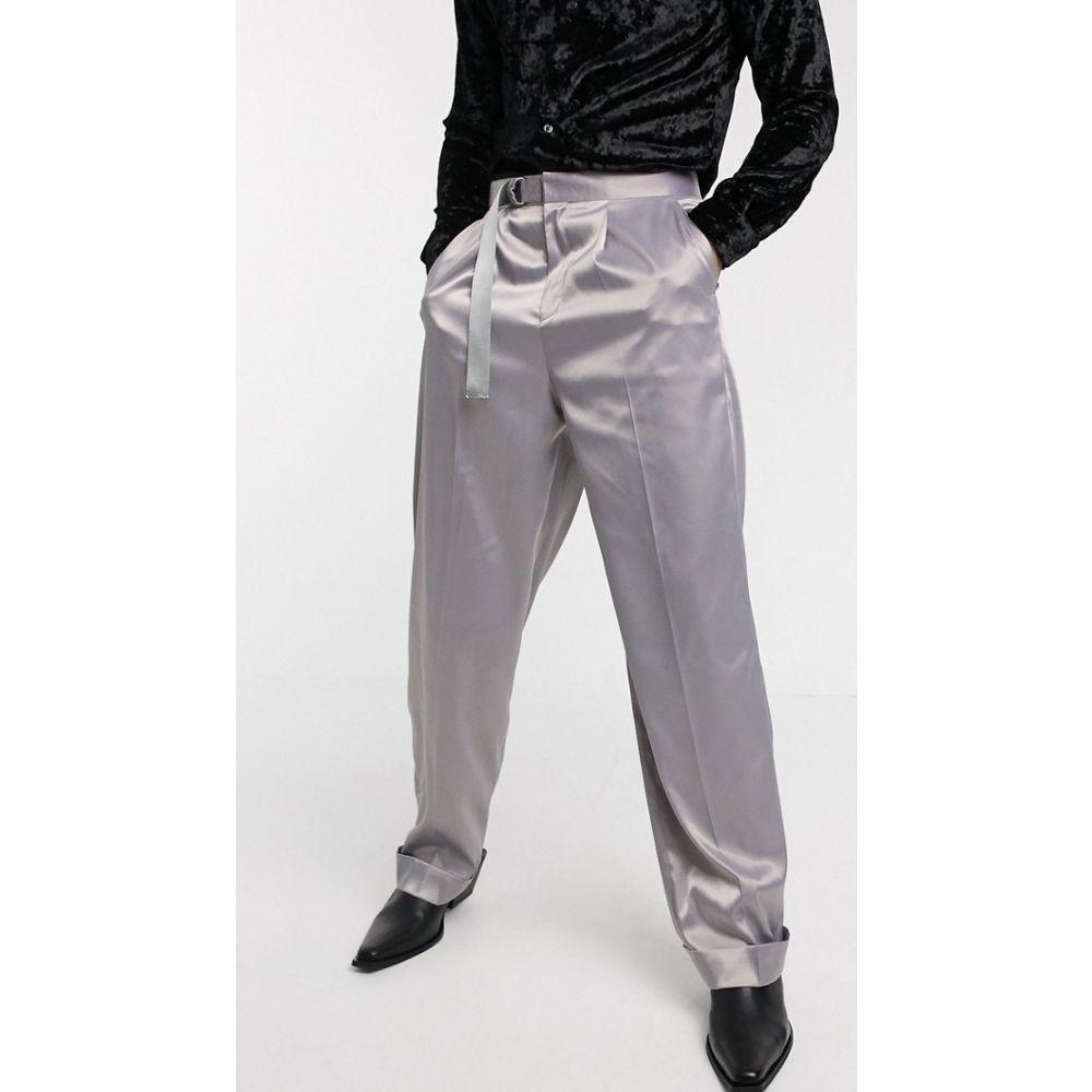 エイソス ASOS DESIGN メンズ ボトムス・パンツ ワイドパンツ【wide leg smart trousers in lilac satin and belt】Lilac
