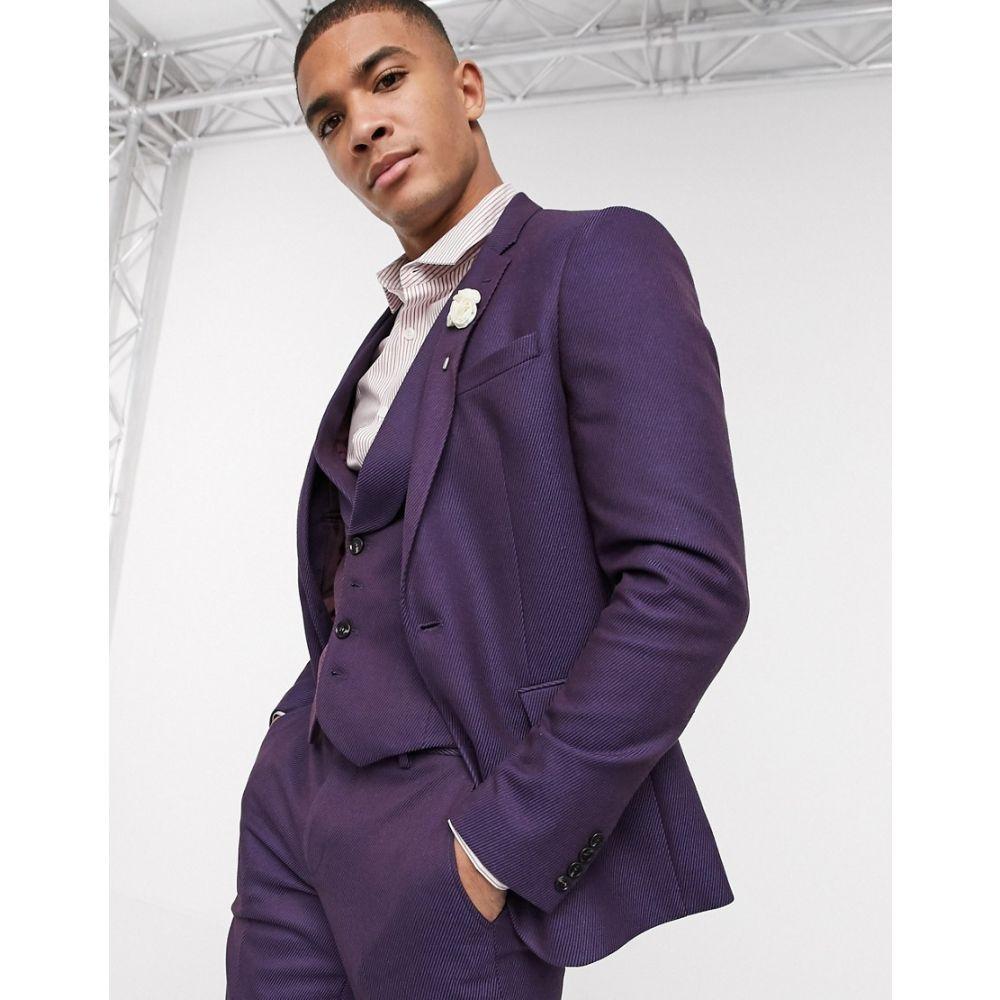 エイソス ASOS DESIGN メンズ スーツ・ジャケット アウター【wedding skinny wool mix suit jacket in soft burgundy twill】Burgundy