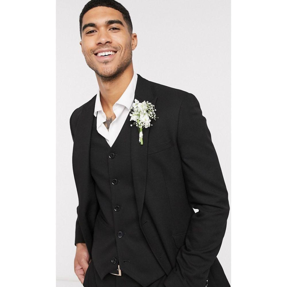 エイソス ASOS DESIGN メンズ スーツ・ジャケット アウター【wedding super skinny suit jacket in micro texture in black】Black